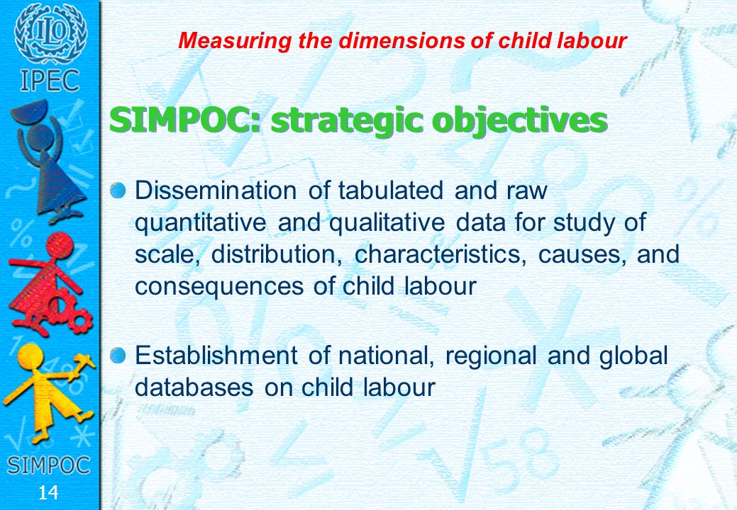 14 Measuring the dimensions of child labour Dissemination of tabulated and raw quantitative and qualitative data for study of scale, distribution, characteristics, causes, and consequences of child labour Establishment of national, regional and global databases on child labour SIMPOC: strategic objectives