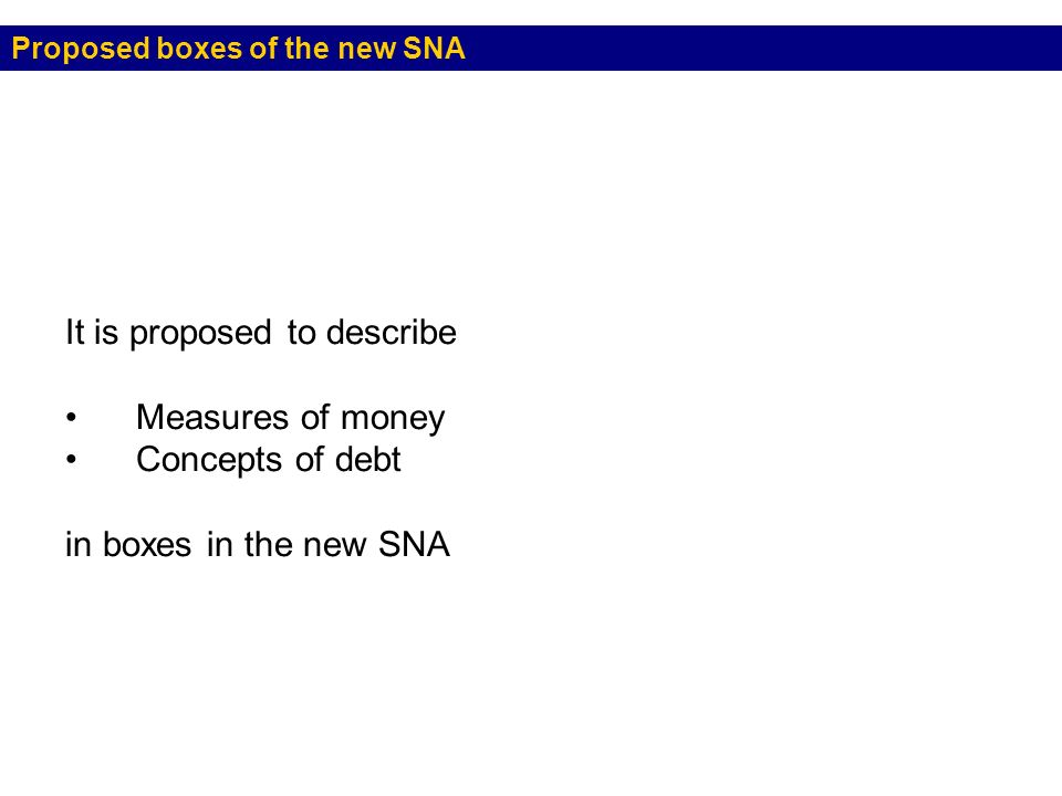 Proposed boxes of the new SNA It is proposed to describe Measures of money Concepts of debt in boxes in the new SNA