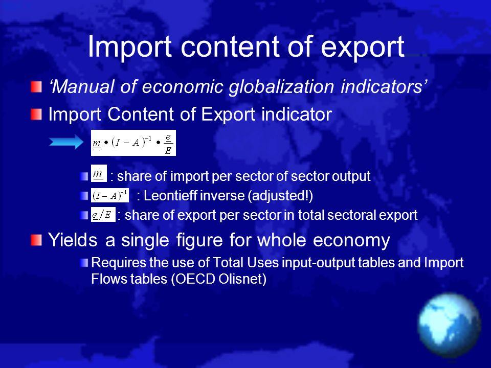 Import content of export Manual of economic globalization indicators Import Content of Export indicator : share of import per sector of sector output