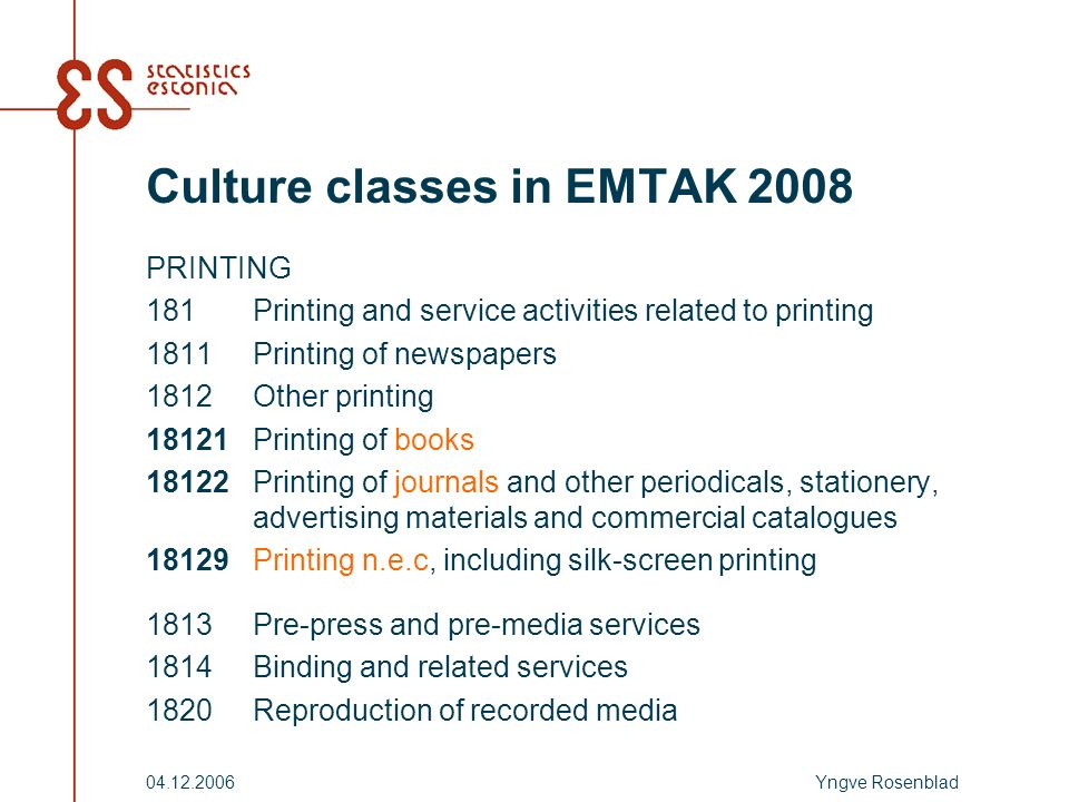 Yngve Rosenblad Culture classes in EMTAK 2008 PRINTING 181Printing and service activities related to printing 1811Printing of newspapers 1812Other printing 18121Printing of books 18122Printing of journals and other periodicals, stationery, advertising materials and commercial catalogues 18129Printing n.e.c, including silk-screen printing 1813Pre-press and pre-media services 1814Binding and related services 1820Reproduction of recorded media