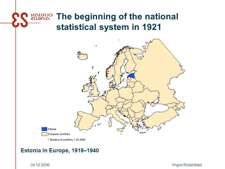 Yngve Rosenblad04.12.2006 The beginning of the national statistical system in 1921 Estonia in Europe, 1918–1940