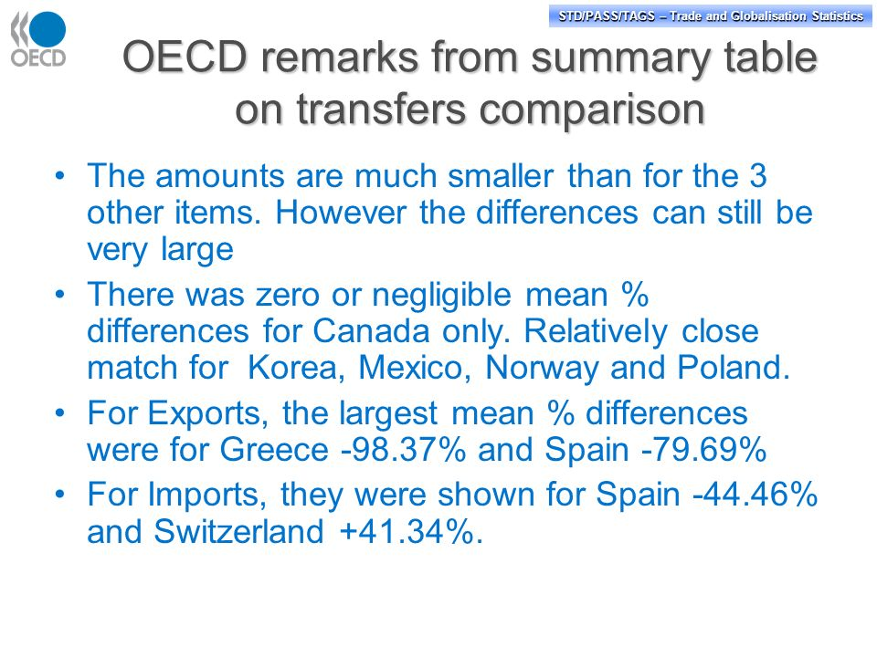 STD/PASS/TAGS – Trade and Globalisation Statistics OECD remarks from summary table on transfers comparison The amounts are much smaller than for the 3 other items.