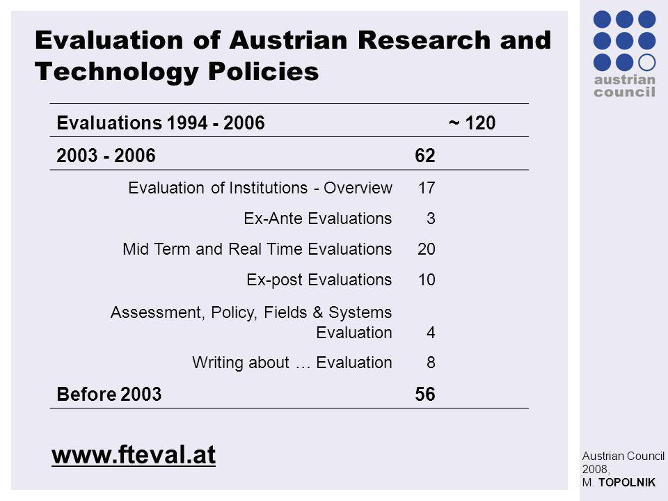 Austrian Council 2008, M. TOPOLNIK Evaluation of Austrian Research and Technology Policies Evaluations 1994 - 2006 ~ 120 2003 - 200662 Evaluation of I