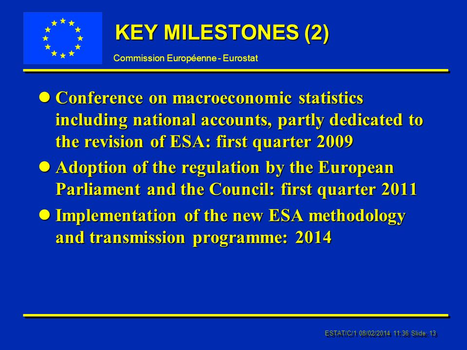Commission Européenne - Eurostat ESTAT/C/1 08/02/2014 11:37 Slide: 13 KEY MILESTONES (2) lConference on macroeconomic statistics including national accounts, partly dedicated to the revision of ESA: first quarter 2009 lAdoption of the regulation by the European Parliament and the Council: first quarter 2011 lImplementation of the new ESA methodology and transmission programme: 2014