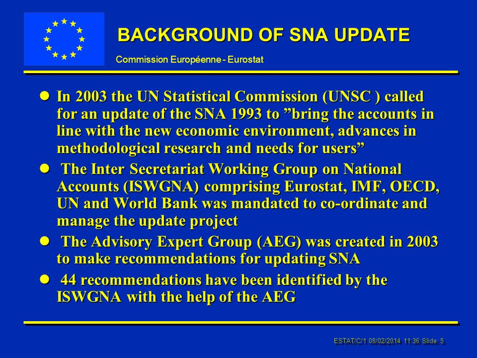 Commission Européenne - Eurostat ESTAT/C/1 08/02/2014 11:37 Slide: 5 BACKGROUND OF SNA UPDATE lIn 2003 the UN Statistical Commission (UNSC ) called for an update of the SNA 1993 to bring the accounts in line with the new economic environment, advances in methodological research and needs for users l The Inter Secretariat Working Group on National Accounts (ISWGNA) comprising Eurostat, IMF, OECD, UN and World Bank was mandated to co-ordinate and manage the update project l The Advisory Expert Group (AEG) was created in 2003 to make recommendations for updating SNA l 44 recommendations have been identified by the ISWGNA with the help of the AEG