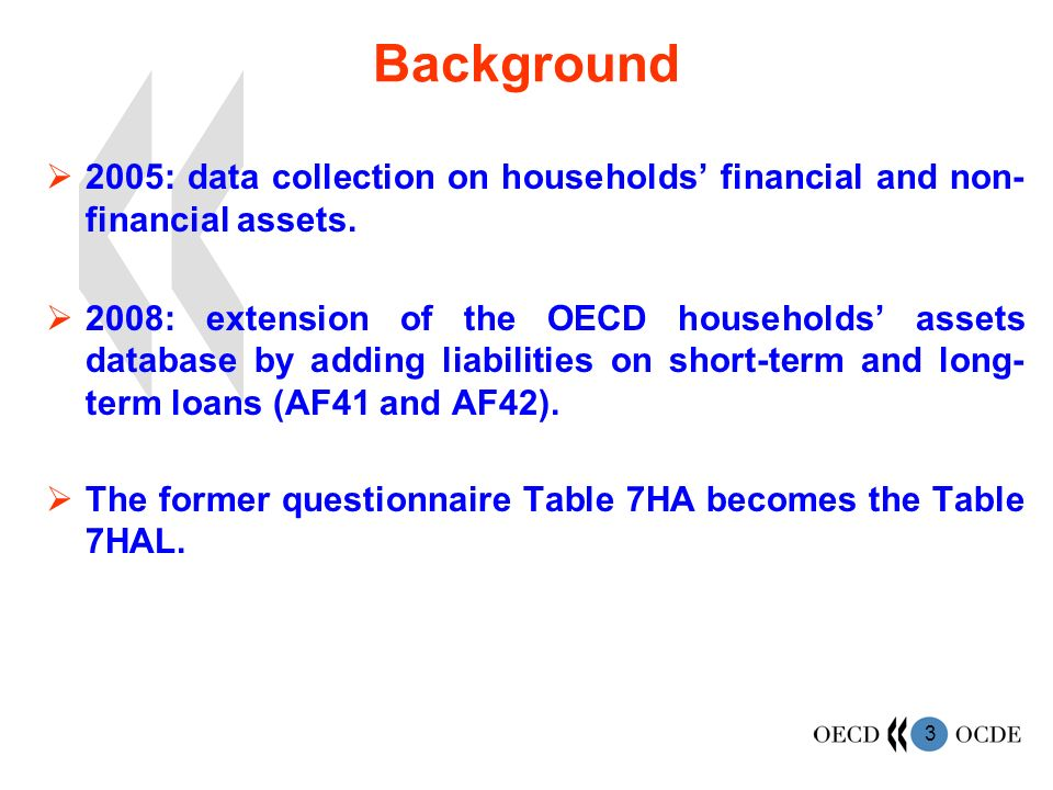 3 Background 2005: data collection on households financial and non- financial assets.