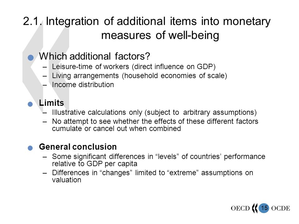 15 2.1. Integration of additional items into monetary measures of well-being Which additional factors? –Leisure-time of workers (direct influence on G