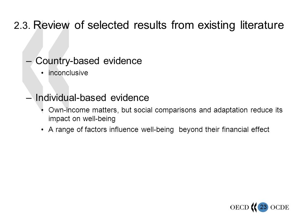 23 2.3. Review of selected results from existing literature –Country-based evidence inconclusive –Individual-based evidence Own-income matters, but so