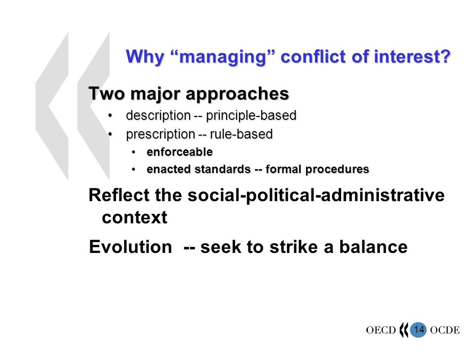 14 Why managing conflict of interest.