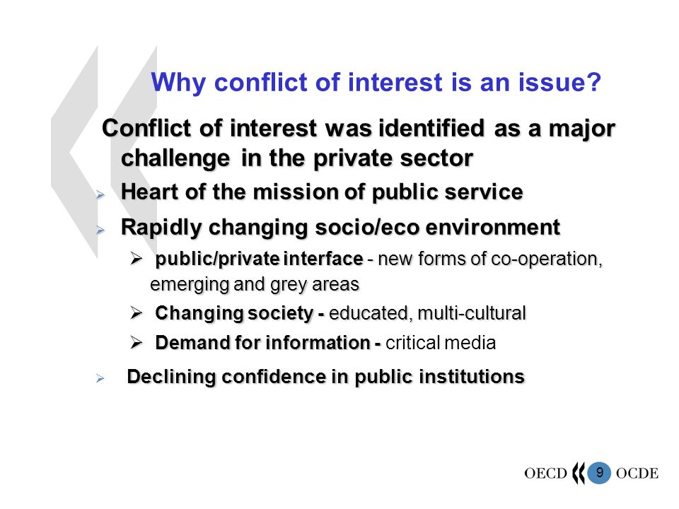 9 Why conflict of interest is an issue.