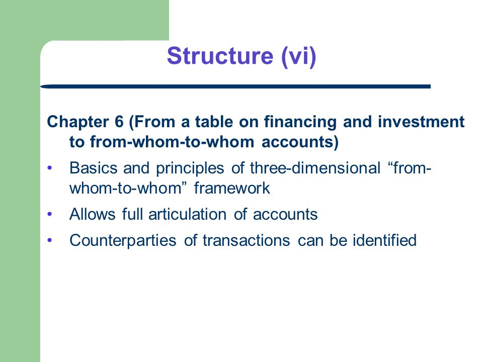 Structure (vi) Chapter 6 (From a table on financing and investment to from-whom-to-whom accounts) Basics and principles of three-dimensional from- whom-to-whom framework Allows full articulation of accounts Counterparties of transactions can be identified