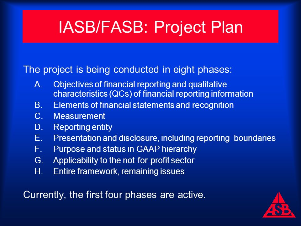 IASB/FASB: Project Plan The project is being conducted in eight phases: A.Objectives of financial reporting and qualitative characteristics (QCs) of financial reporting information B.Elements of financial statements and recognition C.Measurement D.Reporting entity E.Presentation and disclosure, including reporting boundaries F.Purpose and status in GAAP hierarchy G.Applicability to the not-for-profit sector H.Entire framework, remaining issues Currently, the first four phases are active.