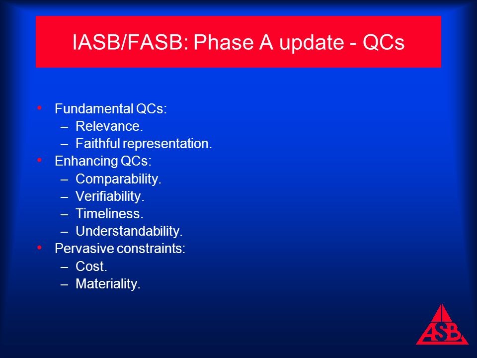 IASB/FASB: Phase A update - QCs Fundamental QCs: –Relevance.