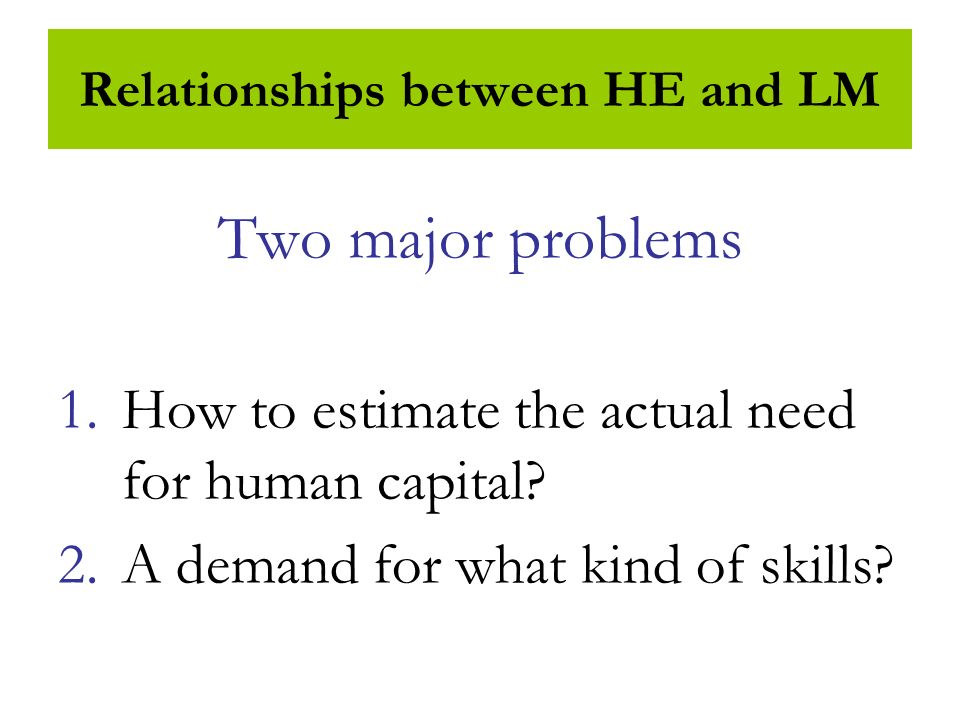 Relationships between HE and LM Two major problems 1.How to estimate the actual need for human capital.