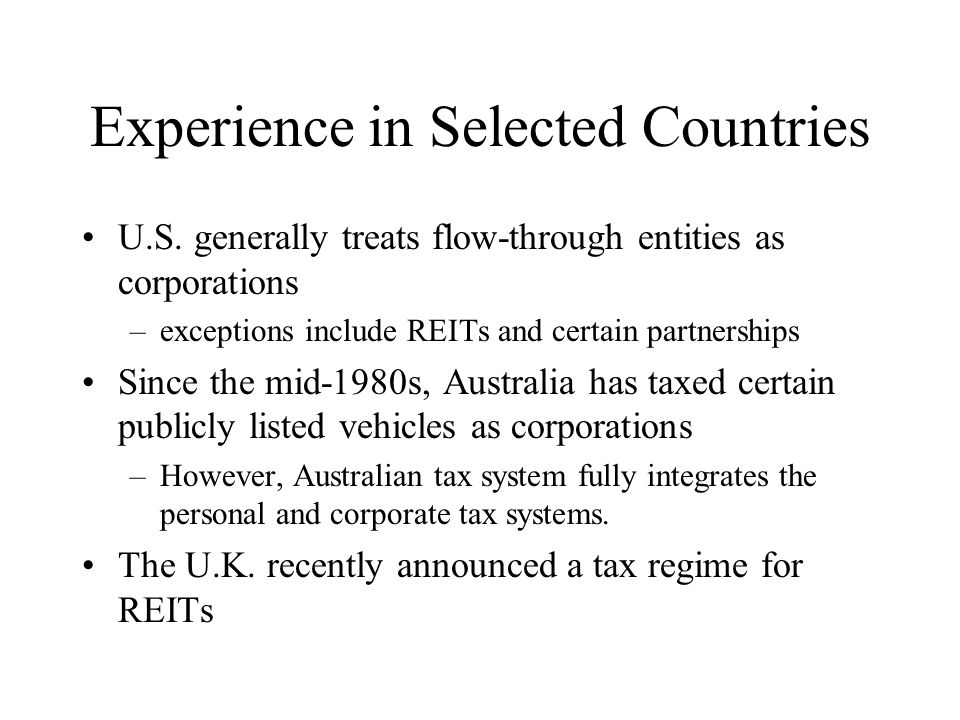 Experience in Selected Countries U.S.