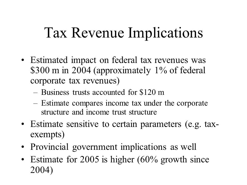Tax Revenue Implications Estimated impact on federal tax revenues was $300 m in 2004 (approximately 1% of federal corporate tax revenues) –Business trusts accounted for $120 m –Estimate compares income tax under the corporate structure and income trust structure Estimate sensitive to certain parameters (e.g.