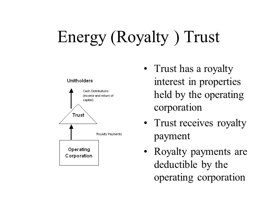 Energy (Royalty ) Trust Trust has a royalty interest in properties held by the operating corporation Trust receives royalty payment Royalty payments are deductible by the operating corporation