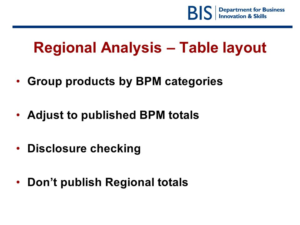 Regional Analysis – Table layout Group products by BPM categories Adjust to published BPM totals Disclosure checking Dont publish Regional totals