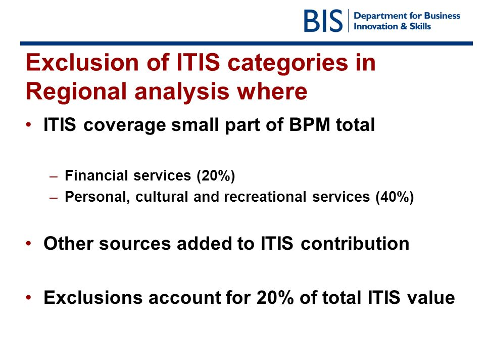 Exclusion of ITIS categories in Regional analysis where ITIS coverage small part of BPM total –Financial services (20%) –Personal, cultural and recrea
