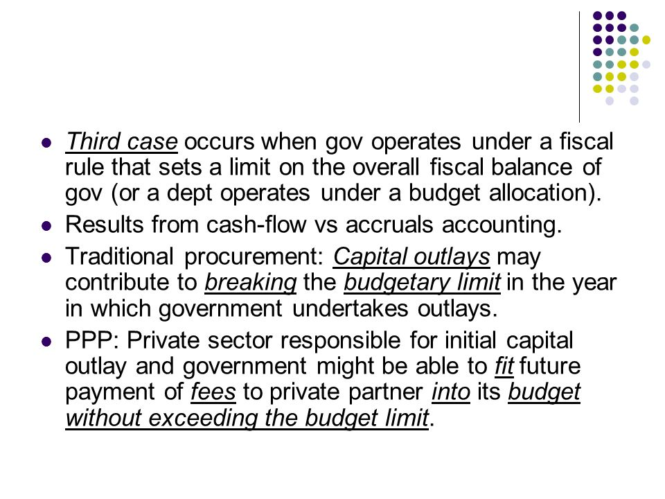 Third case occurs when gov operates under a fiscal rule that sets a limit on the overall fiscal balance of gov (or a dept operates under a budget allo