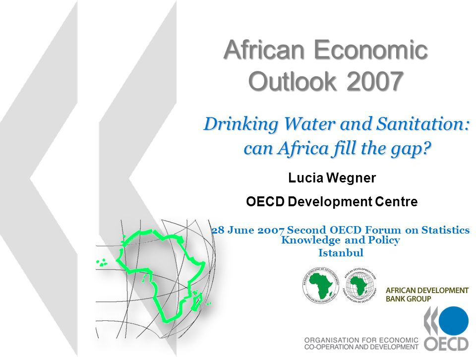 African Economic Outlook 2007 Drinking Water and Sanitation: can Africa fill the gap? Lucia Wegner OECD Development Centre 28 June 2007 Second OECD Fo