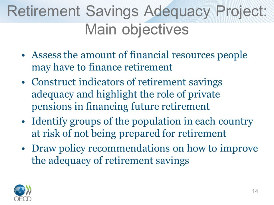 Retirement Savings Adequacy Project: Main objectives Assess the amount of financial resources people may have to finance retirement Construct indicators of retirement savings adequacy and highlight the role of private pensions in financing future retirement Identify groups of the population in each country at risk of not being prepared for retirement Draw policy recommendations on how to improve the adequacy of retirement savings 14