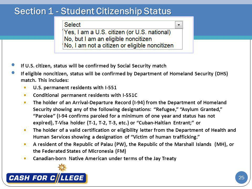 Section 1 - Student Citizenship Status If U.S.