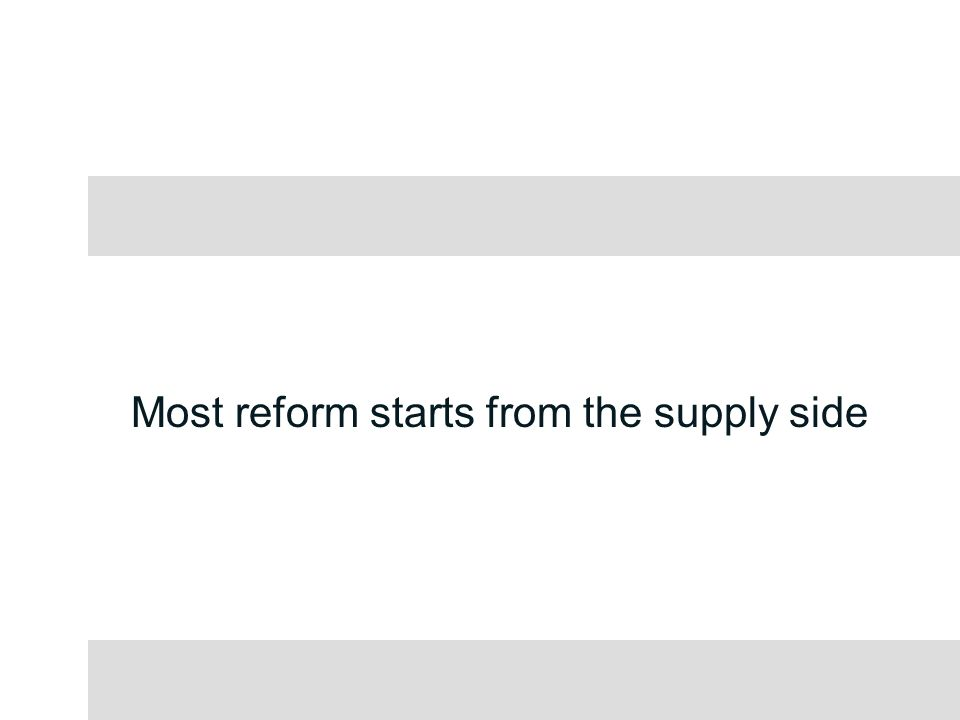 Most reform starts from the supply side