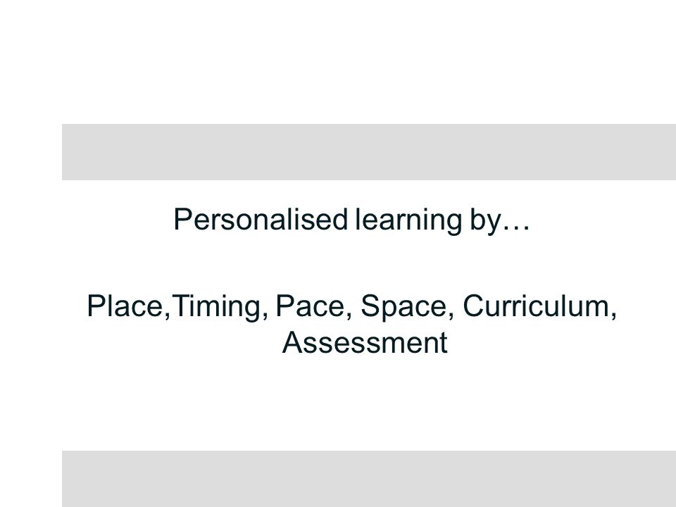 Personalised learning by… Place,Timing, Pace, Space, Curriculum, Assessment