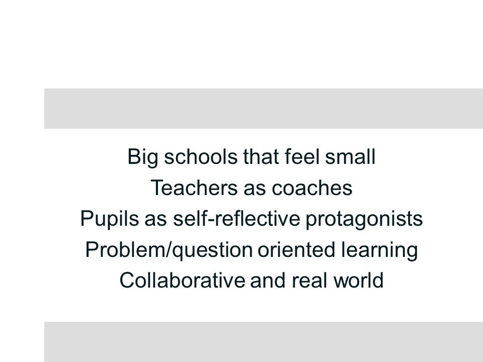 Big schools that feel small Teachers as coaches Pupils as self-reflective protagonists Problem/question oriented learning Collaborative and real world