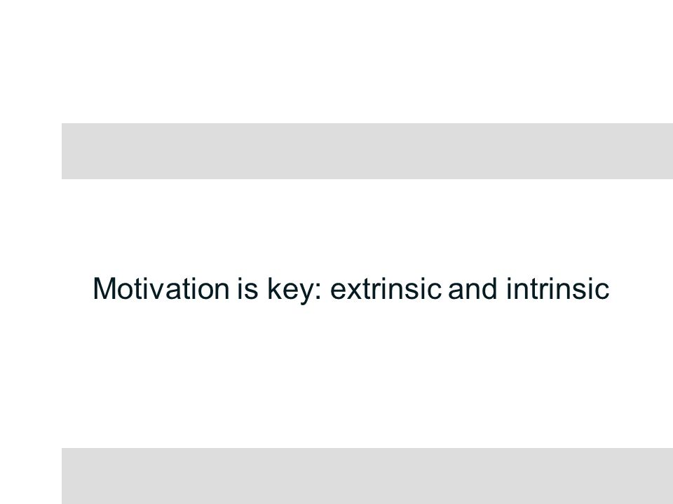 Motivation is key: extrinsic and intrinsic