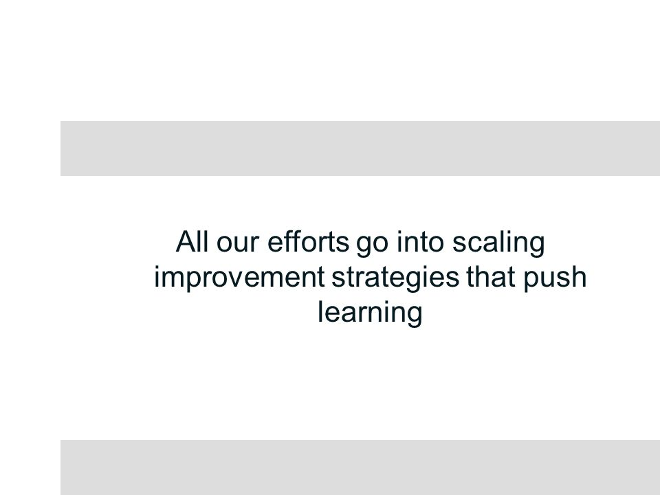 All our efforts go into scaling improvement strategies that push learning