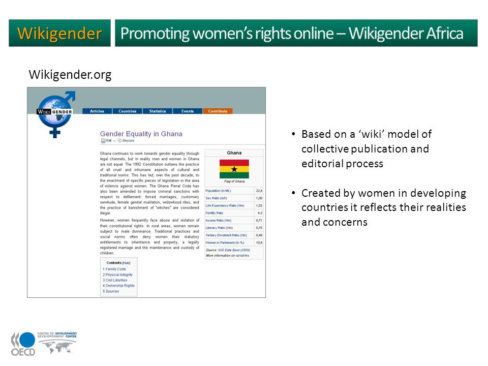 Wikigender Promoting womens rights online – Wikigender Africa Based on a wiki model of collective publication and editorial process Created by women in developing countries it reflects their realities and concerns Wikigender.org