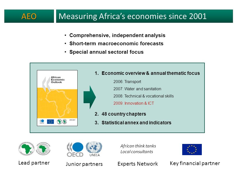 AEO Measuring Africas economies since 2001 Comprehensive, independent analysis Short-term macroeconomic forecasts Special annual sectoral focus Key financial partner Junior partners UNECA Lead partner African think tanks Local consultants Experts Network 1.Economic overview & annual thematic focus 2006: Transport 2007: Water and sanitation 2008: Technical & vocational skills 2009: Innovation & ICT 2.48 country chapters 3.Statistical annex and indicators