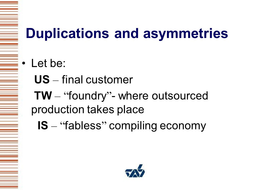 Duplications and asymmetries Let be: US – final customer TW – foundry - where outsourced production takes place IS – fabless compiling economy