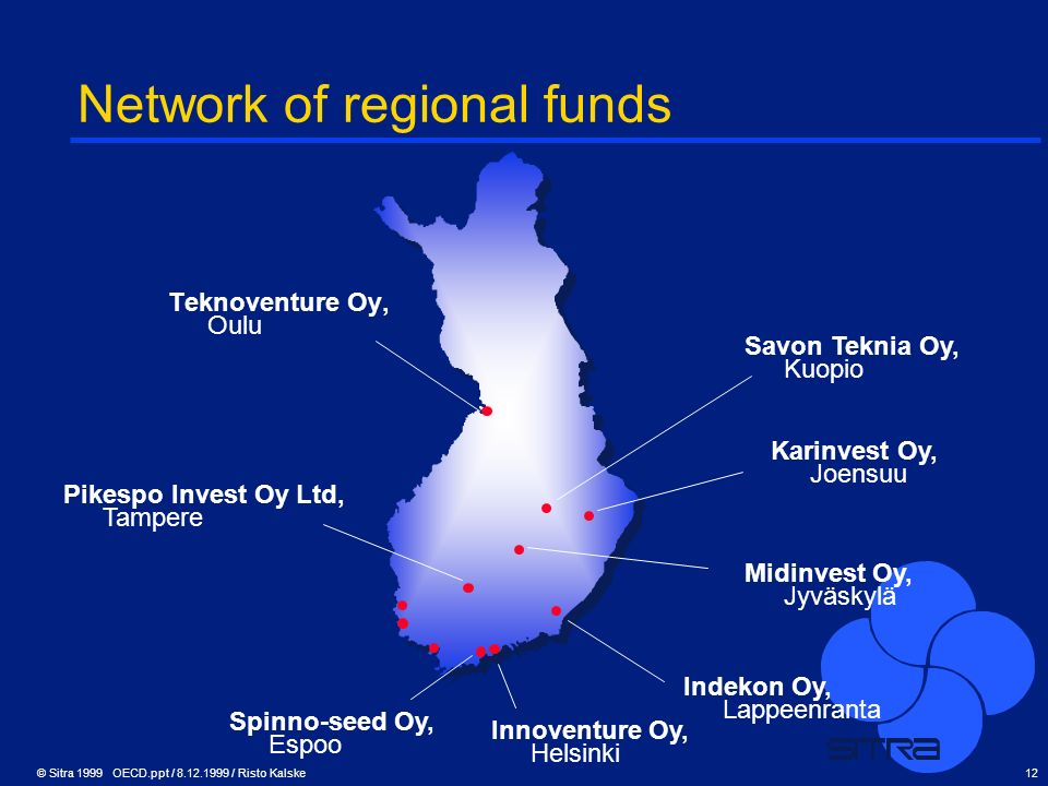 © Sitra 1999 OECD.ppt / 8.12.1999 / Risto Kalske12 Network of regional funds Teknoventure Oy, Oulu Pikespo Invest Oy Ltd, Tampere Spinno-seed Oy, Espo