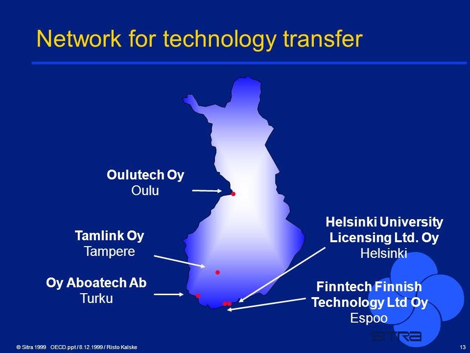 © Sitra 1999 OECD.ppt / 8.12.1999 / Risto Kalske13 Network for technology transfer Oulutech Oy Oulu Tamlink Oy Tampere Oy Aboatech Ab Turku Helsinki U