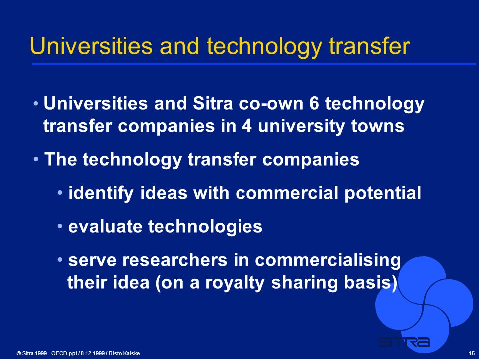 © Sitra 1999 OECD.ppt / 8.12.1999 / Risto Kalske15 Universities and technology transfer Universities and Sitra co-own 6 technology transfer companies