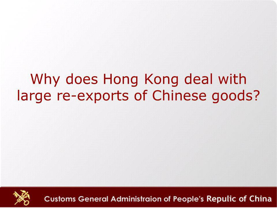 Why does Hong Kong deal with large re-exports of Chinese goods