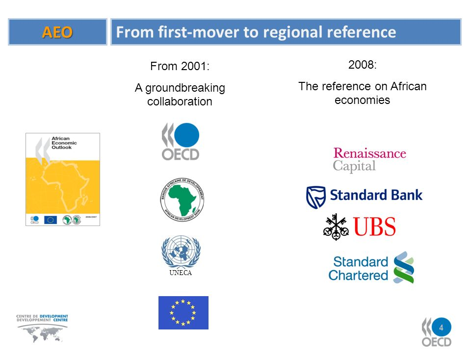 AEO From first-mover to regional reference From 2001: A groundbreaking collaboration UNECA 2008: The reference on African economies 4