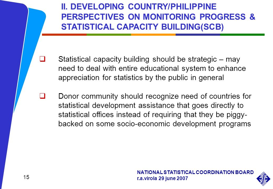 NATIONAL STATISTICAL COORDINATION BOARD r.a.virola 29 june 2007 15 Statistical capacity building should be strategic – may need to deal with entire ed