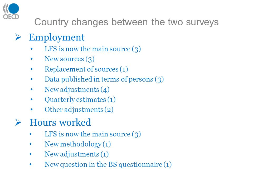 Country changes between the two surveys Employment LFS is now the main source (3) New sources (3) Replacement of sources (1) Data published in terms of persons (3) New adjustments (4) Quarterly estimates (1) Other adjustments (2) Hours worked LFS is now the main source (3) New methodology (1) New adjustments (1) New question in the BS questionnaire (1)
