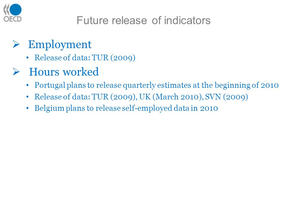 Future release of indicators Employment Release of data: TUR (2009) Hours worked Portugal plans to release quarterly estimates at the beginning of 2010 Release of data: TUR (2009), UK (March 2010), SVN (2009) Belgium plans to release self-employed data in 2010