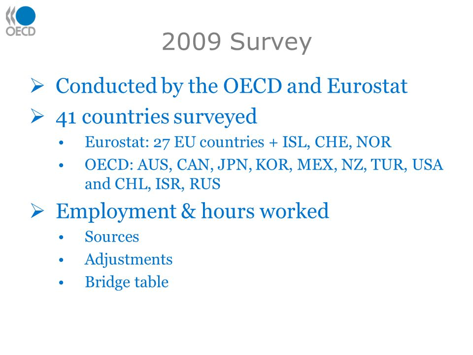 2009 Survey Conducted by the OECD and Eurostat 41 countries surveyed Eurostat: 27 EU countries + ISL, CHE, NOR OECD: AUS, CAN, JPN, KOR, MEX, NZ, TUR,