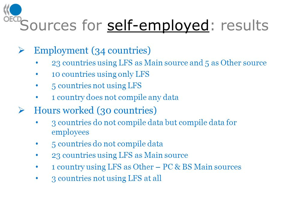 Sources for self-employed: results Employment (34 countries) 23 countries using LFS as Main source and 5 as Other source 10 countries using only LFS 5