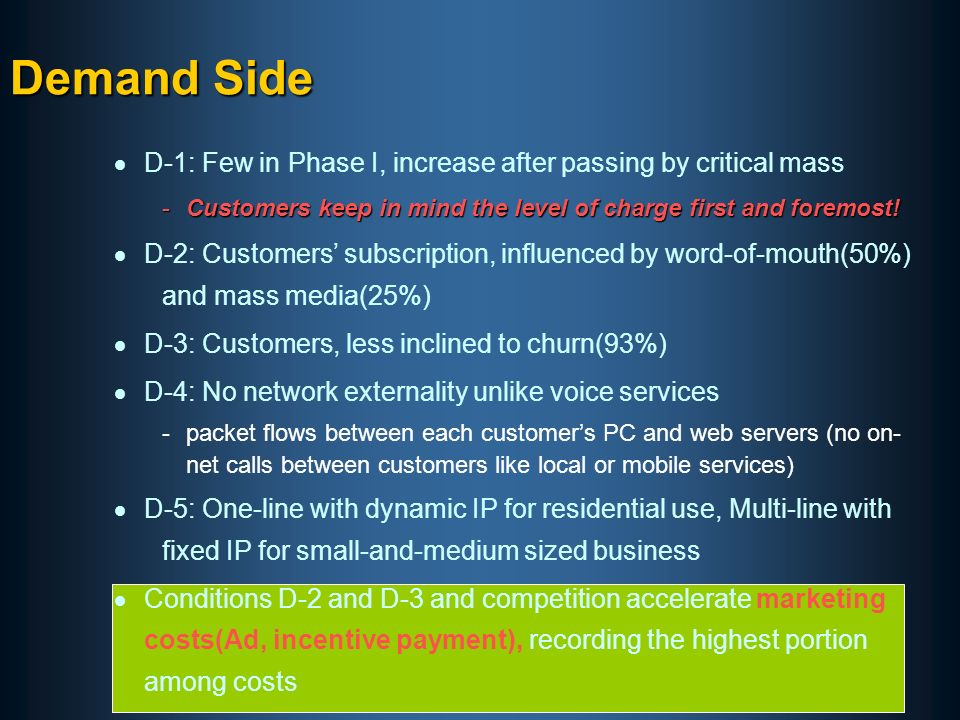 D-1: Few in Phase I, increase after passing by critical mass -Customers keep in mind the level of charge first and foremost.