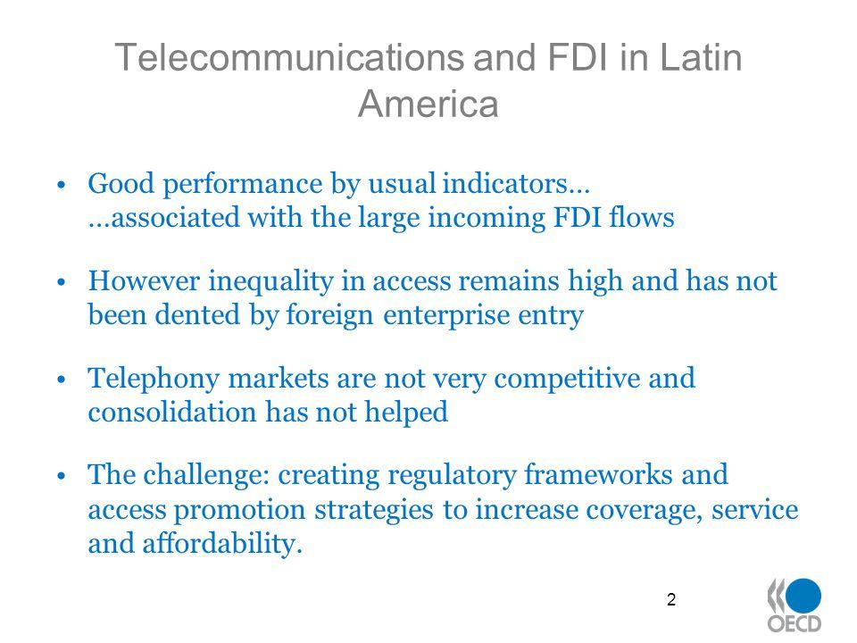 Telecommunications performance in Latin America 3 Source: ITU, 2006, World Telecommunications Database