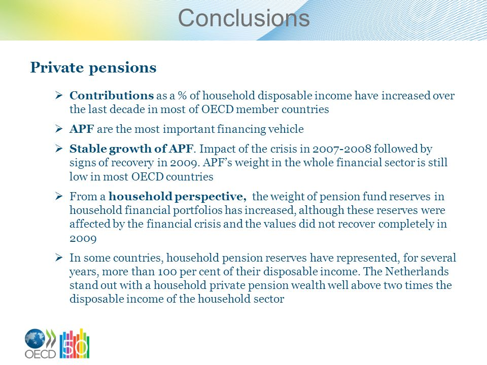 Conclusions Private pensions Contributions as a % of household disposable income have increased over the last decade in most of OECD member countries APF are the most important financing vehicle Stable growth of APF.