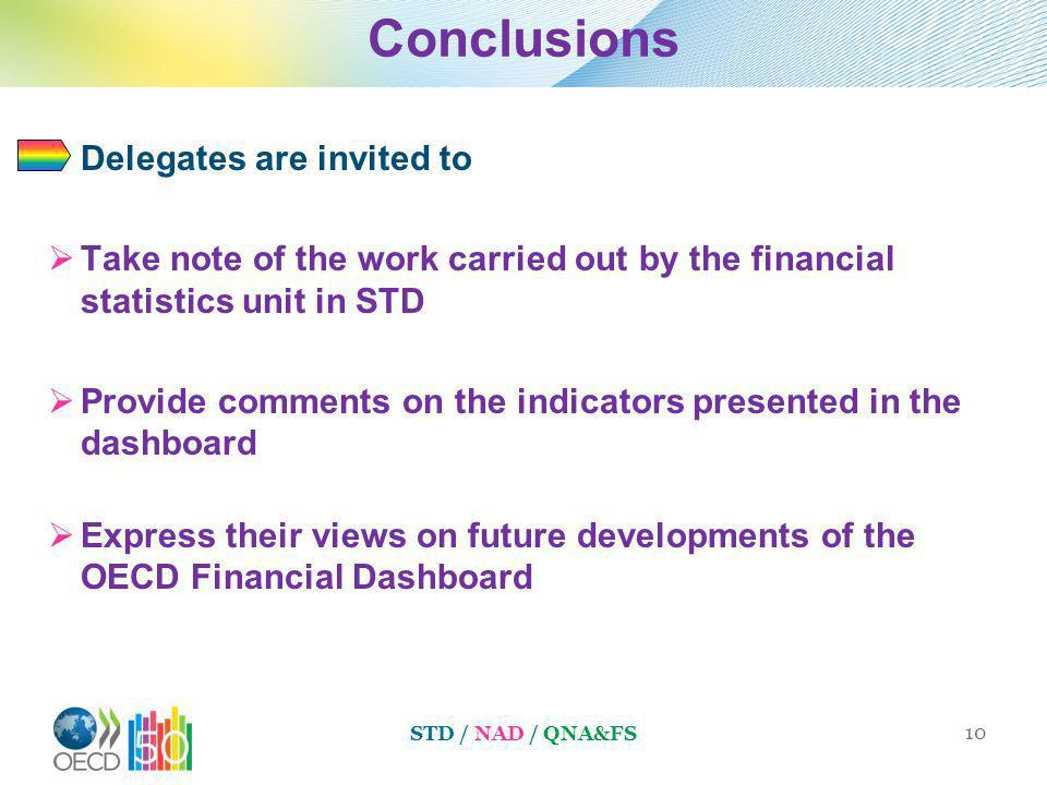 Conclusions Delegates are invited to Take note of the work carried out by the financial statistics unit in STD Provide comments on the indicators presented in the dashboard Express their views on future developments of the OECD Financial Dashboard STD / NAD / QNA&FS 10