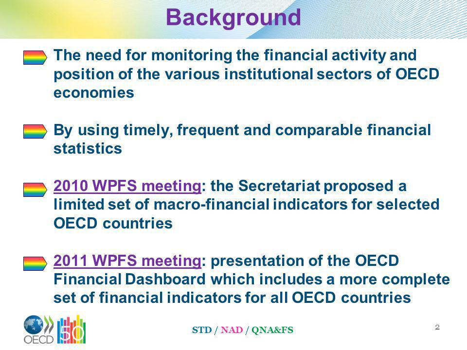 Background The need for monitoring the financial activity and position of the various institutional sectors of OECD economies By using timely, frequent and comparable financial statistics 2010 WPFS meeting: the Secretariat proposed a limited set of macro-financial indicators for selected OECD countries 2011 WPFS meeting: presentation of the OECD Financial Dashboard which includes a more complete set of financial indicators for all OECD countries 2 STD / NAD / QNA&FS